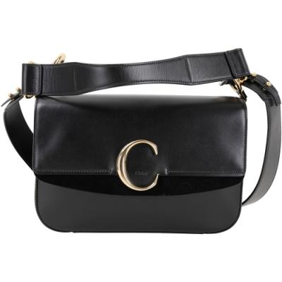 CHLOE C Bag 中型 光滑小牛皮拼接麂皮肩背/手提包(黑色)