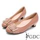 GDC-真皮馬毛歐美知性設計感釦飾低跟鞋-粉色 product thumbnail 1