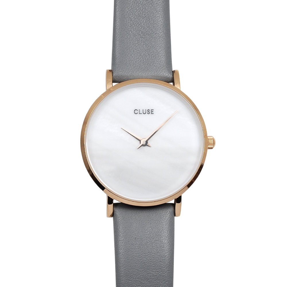 CLUSE荷蘭精品手錶 珍珠母貝系列 白錶盤/灰色皮革錶帶33mm
