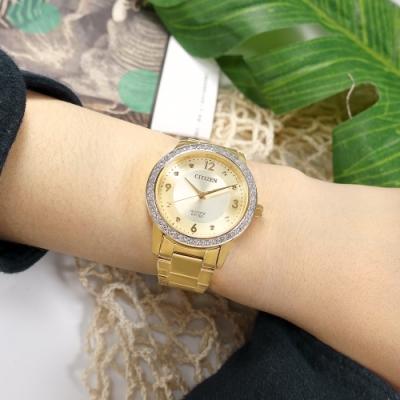 CITIZEN 耀眼晶鑽 礦石強化玻璃 日本機芯 不鏽鋼手錶-鍍金/35mm