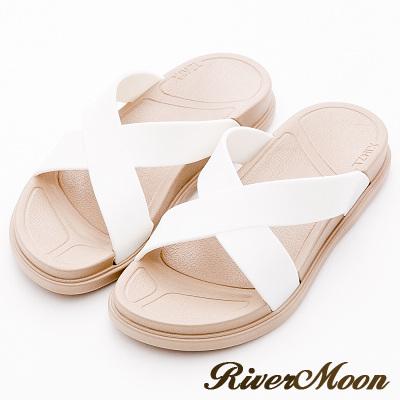 River&Moon拖鞋-寬版交叉Q軟輕量防水羅馬休閒拖鞋-白