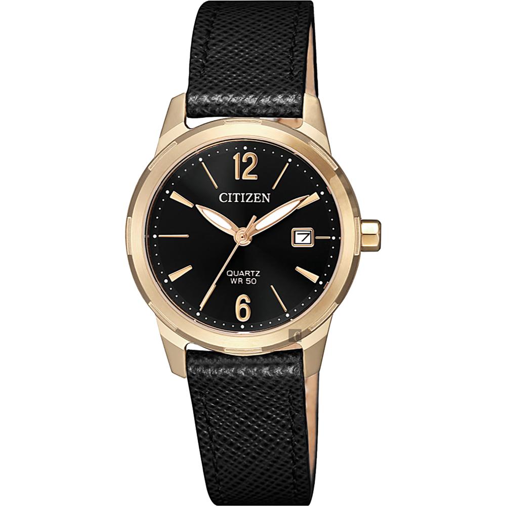 CITIZEN 星辰 限量優美石英女錶-玫瑰金框x黑/28mm(EU6078-09E)