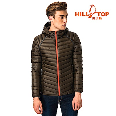 【hilltop山頂鳥】男款輕量超潑水保暖蓄熱羽絨連帽短大衣F22MX8黑咖啡豆