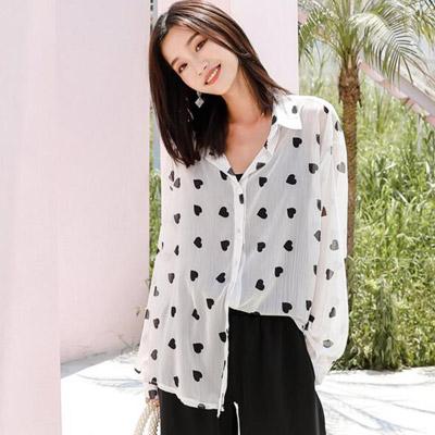 簡約翻領愛心燈籠袖雪紡襯衫 (白色)-Kugi Girl