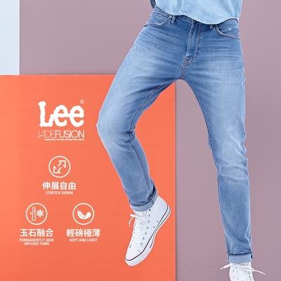 Lee 牛仔褲 705 中腰標準舒適小直筒 男 淺藍 彈性 JADE 破壞細節