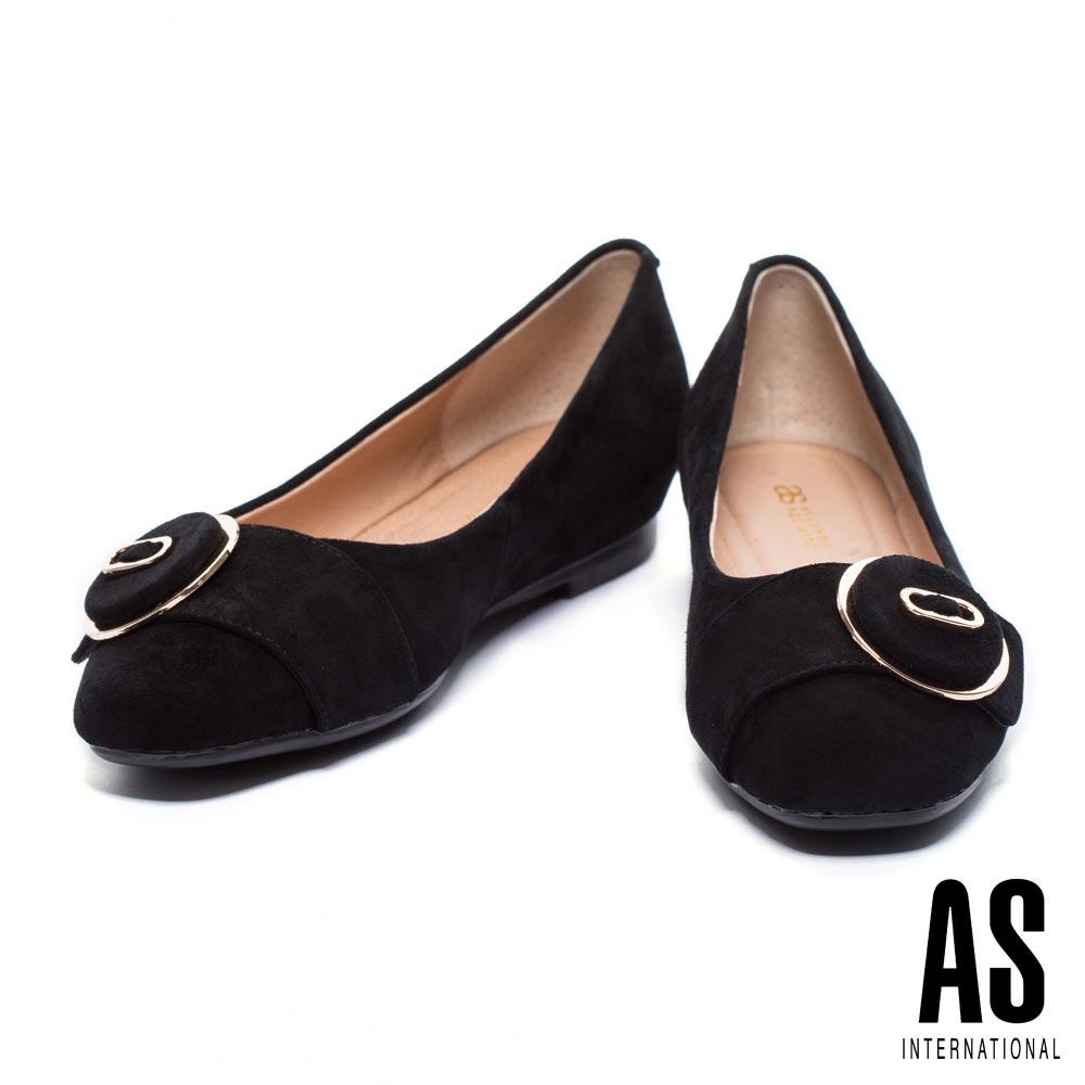 低跟鞋 AS 簡約金邊圓釦羊麂皮方頭低跟鞋-黑