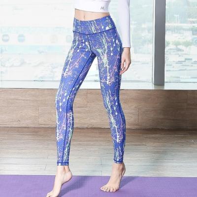 ALLK 超彈力印花跑步瑜珈褲 碎花藍(尺寸M-XL)