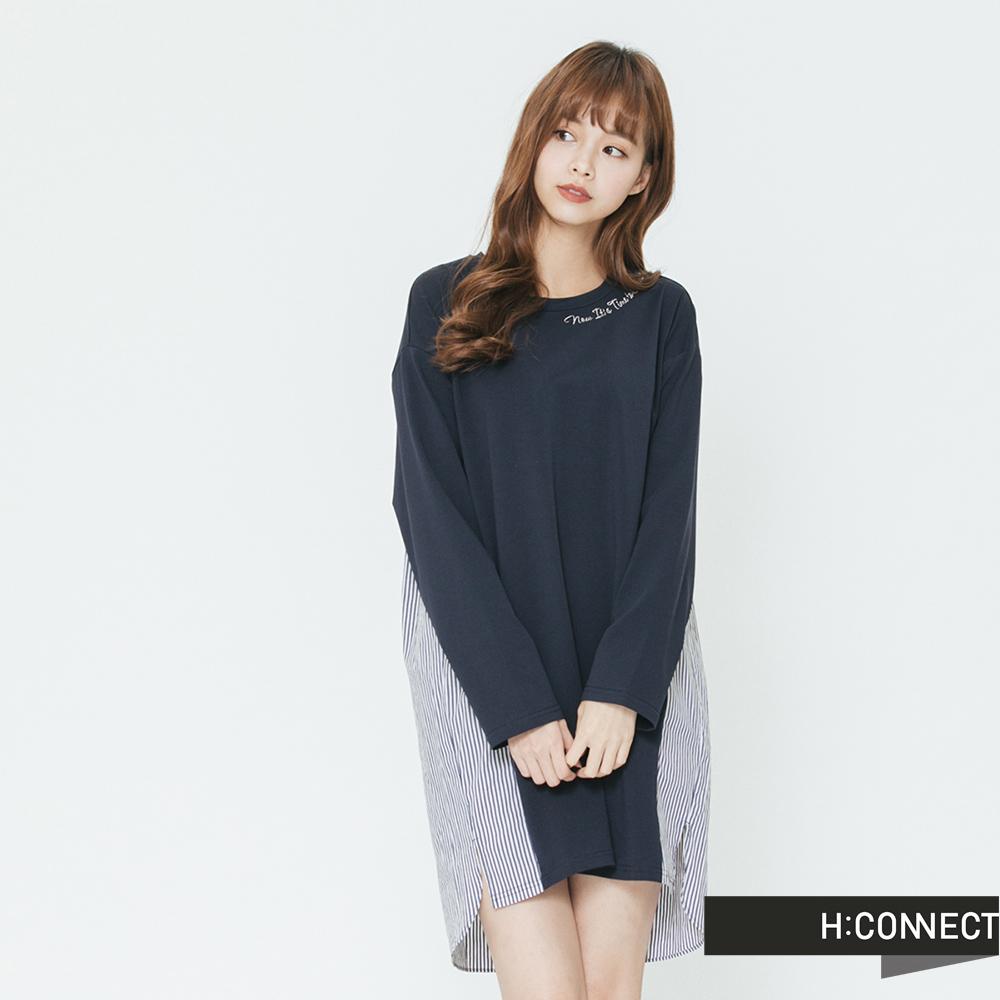 H:CONNECT 韓國品牌 女裝-條紋拼接連身洋裝-藍