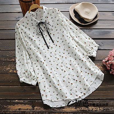繫帶印花七分娃娃袖襯衫-白色(F可選)    初色 田園