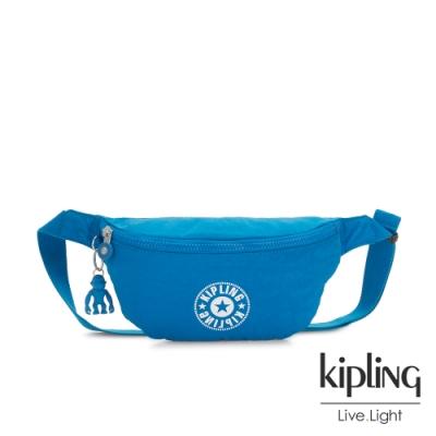 Kipling 復古藍搶眼大LOGO潮流隨身腰包-FRESH
