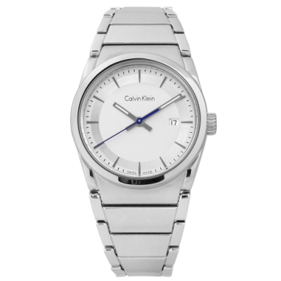 CK step 歐美潮流 極簡知性 日期 不鏽鋼手錶-銀白色/30mm