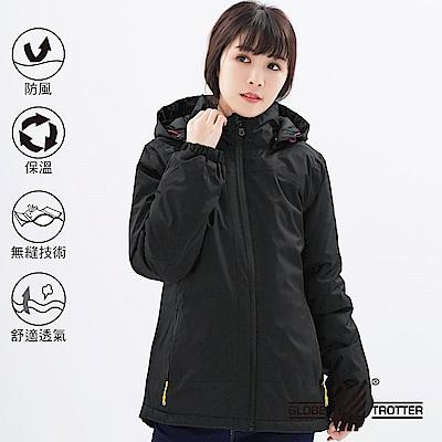 【遊遍天下】女款防風透濕保暖無車縫羽絨機能外套GJ22006黑色