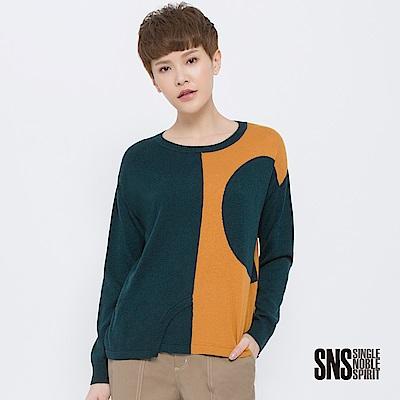 SNS 解構藝術撞色拼接落肩針織衫(2色)