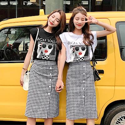 DABI 韓系時尚長裙套閨蜜裝套裝短袖裙裝