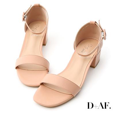 D AF 完美夏日.一字繫踝方頭低跟涼鞋*粉