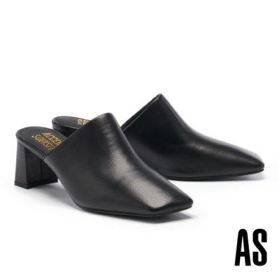 穆勒鞋 AS 簡約質感全羊皮斜角方頭高跟穆勒拖鞋-黑