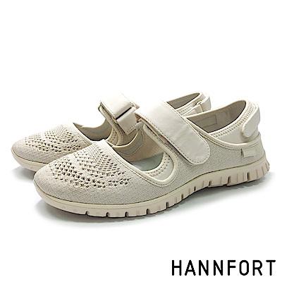 HANNFORT ZERO GRAVITY黏扣帶休閒鞋-女-米白