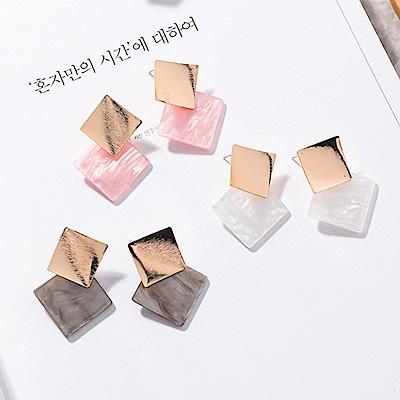 梨花HaNA  韓國冷淡風格貝殼金屬細緻質感異素材耳環