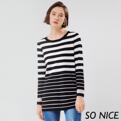 SO NICE率性黑白條紋長版上衣
