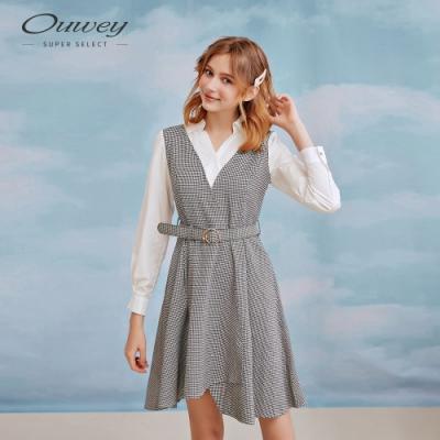 OUWEY歐薇 都會千鳥格假兩件洋裝(灰)