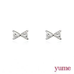 YUME - K金鑲鑽小領結耳環