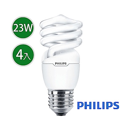 飛利浦 Tornado 螺旋省電燈泡T2 23W E27 120V 白光 (4入組)