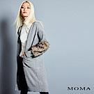 MOMA 人造毛拼接針織開襟外套