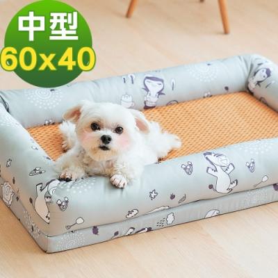奶油獅 涼夏好眠-台灣製造森林野餐-寵物透氣紙纖涼蓆記憶床墊-中40*60cm(10kg以下適用)-灰