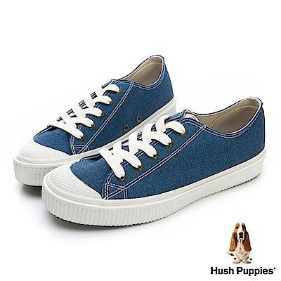 Hush Puppies 古著斜紋咖啡紗餅乾鞋-藍色