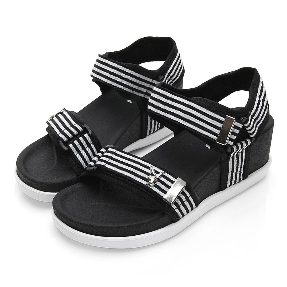 PLAYBOY 魔鬼氈織帶厚底涼鞋-黑白-Y5286C1