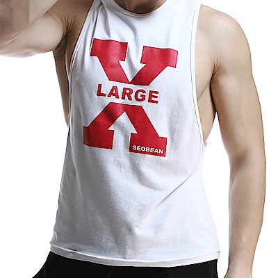 SEOBEAN X-LARGE白色棉質潮流印花運動背心