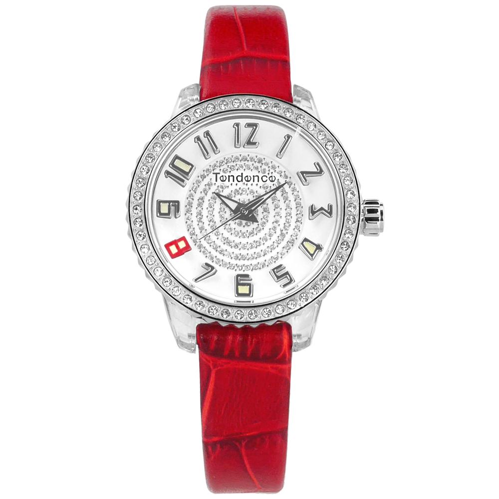 Tendence 天勢表 施華洛世奇水鑽 礦石強化玻璃 防水 真皮手錶-白x紅/30mm