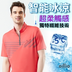 oillio歐洲貴族 男裝 短袖超柔防皺紳士立領T恤 穿搭超彈力 休閒都會休閒 紅色