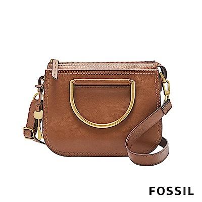 FOSSIL RYDER 真皮小圓弧手提/側背兩用包(硬質把手)-咖啡色