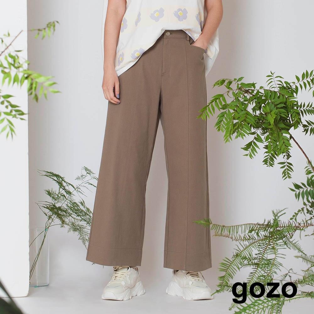 gozo-顯瘦剪接鬆緊寬褲(兩色) product image 1