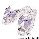 Maison de FLEUR 碎花柄蝴蝶結絲帶造型拖鞋