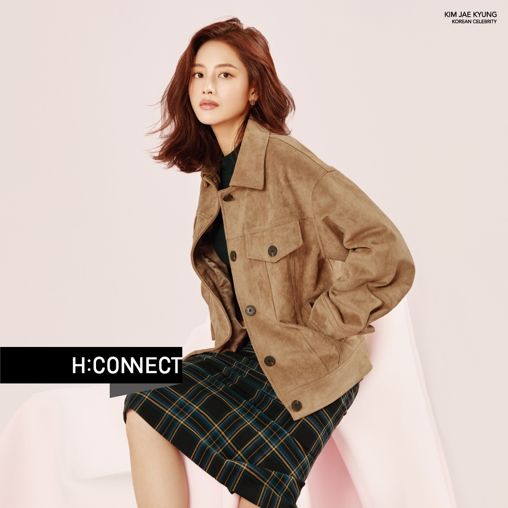 H:CONNECT 韓國品牌 女裝- 後開岔格紋中長裙-黑