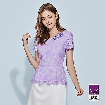 ILEY伊蕾 雙色花卉縷空透膚蕾絲上衣(紫)