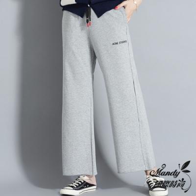 Mandy國際時尚 長褲 冬 系帶字母高腰闊腿休閒長褲(3色) 【韓國服飾】