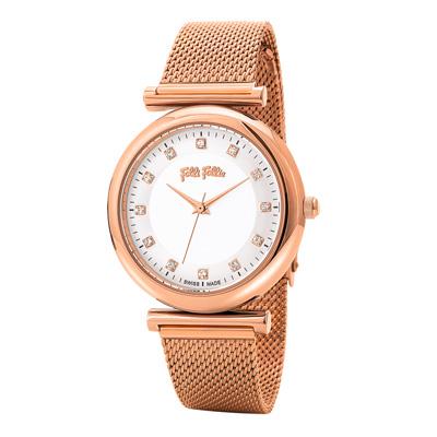 Folli Follie 時刻浪漫晶典腕錶-玫瑰金(WF16R022BSS-XX)