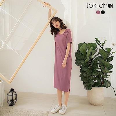 東京著衣-品牌嚴選親膚舒適V領棉質洋裝-S.M.L(共兩色)