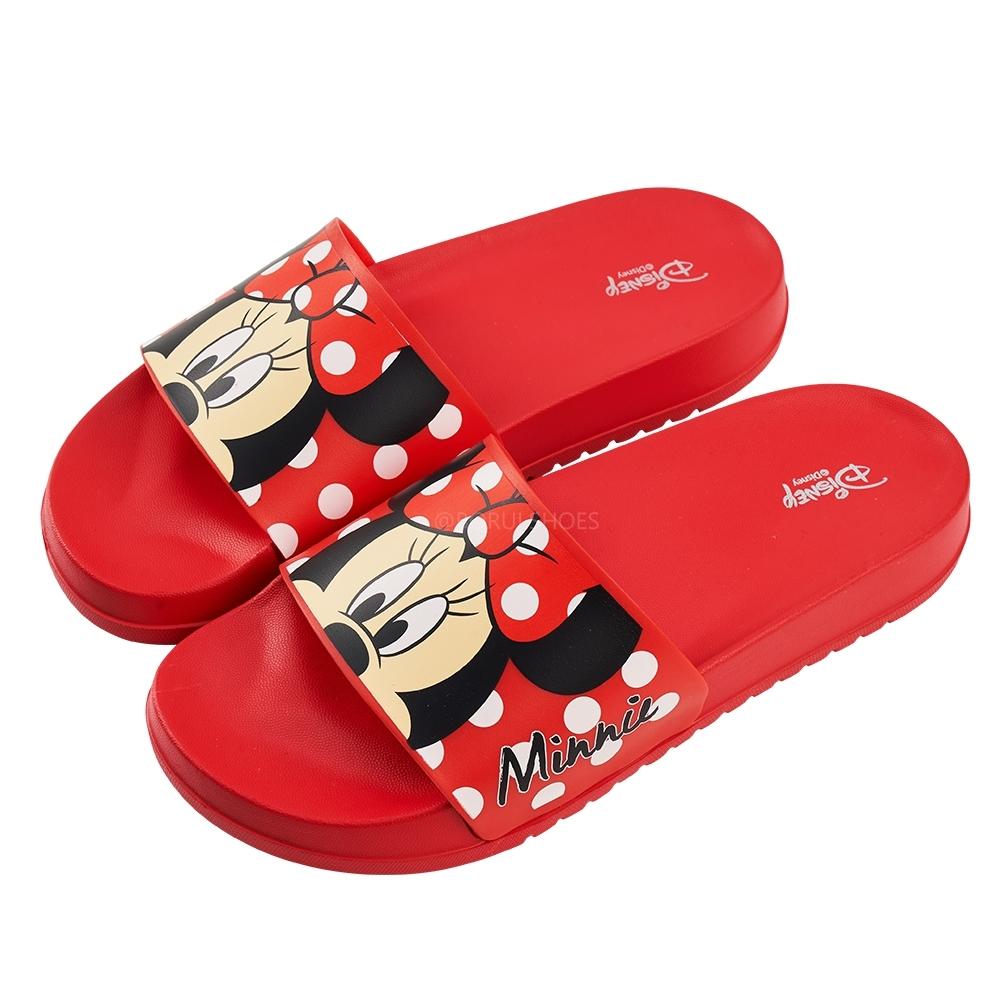 迪士尼親子鞋 米妮 趣味造型女段休閒拖鞋-紅
