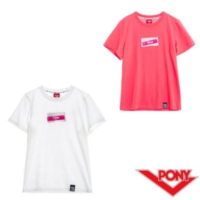 【PONY】純棉直筒短袖上衣T恤 女款 2色