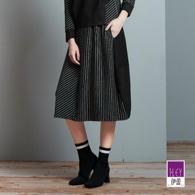 ILEY伊蕾 都會時尚條紋剪接過膝裙(黑)