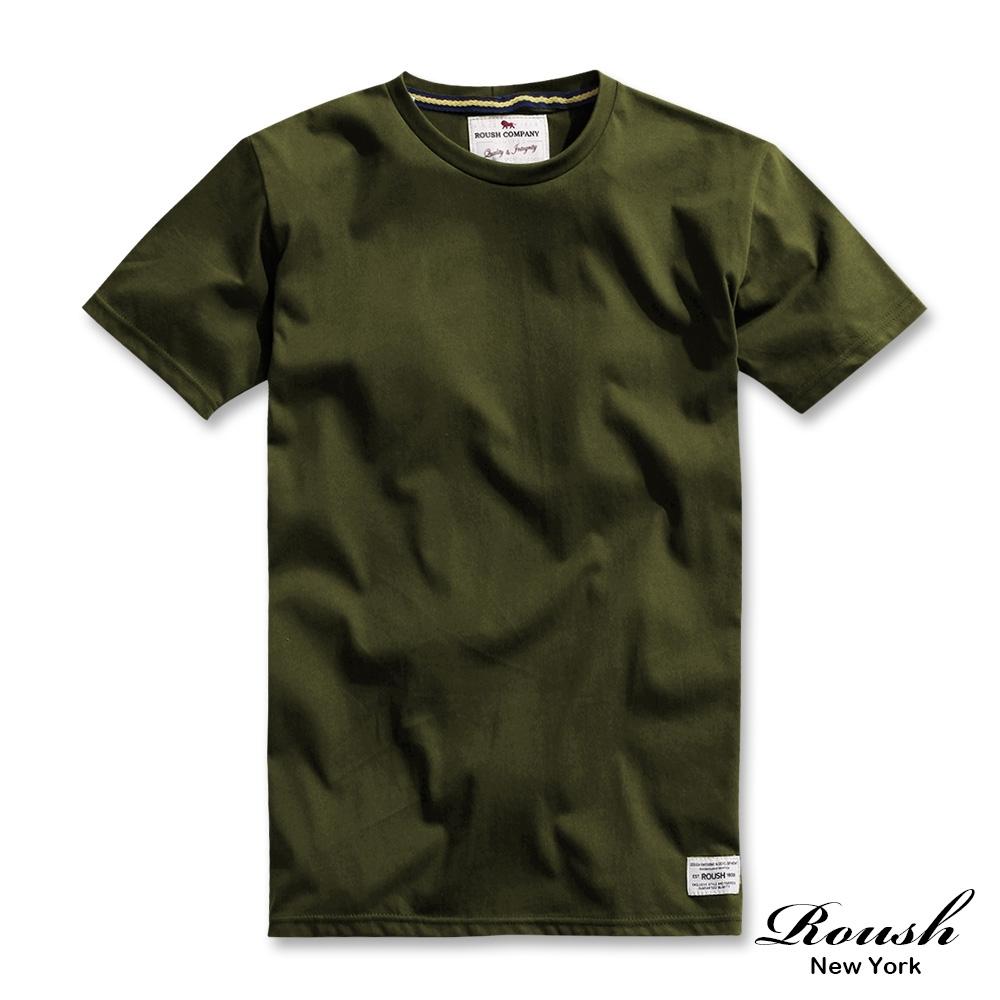 Roush 高磅數水洗棉素面圓領短TEE(6色) (軍綠)