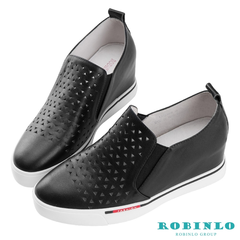 Robinlo 簡約金屬羊皮幾何沖孔內增高休閒鞋 黑色