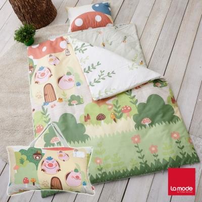 La mode寢飾 蘑菇豬睡寶包 環保印染100%精梳棉兒童睡袋