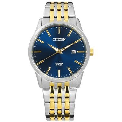 CITIZEN 礦石強化玻璃 日期 日本機芯 不鏽鋼手錶-藍x鍍金/39mm