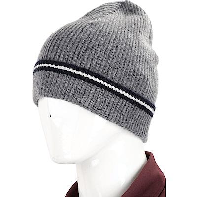 BALLY STRIPE 經典黑白條紋細節灰色針織羊毛帽