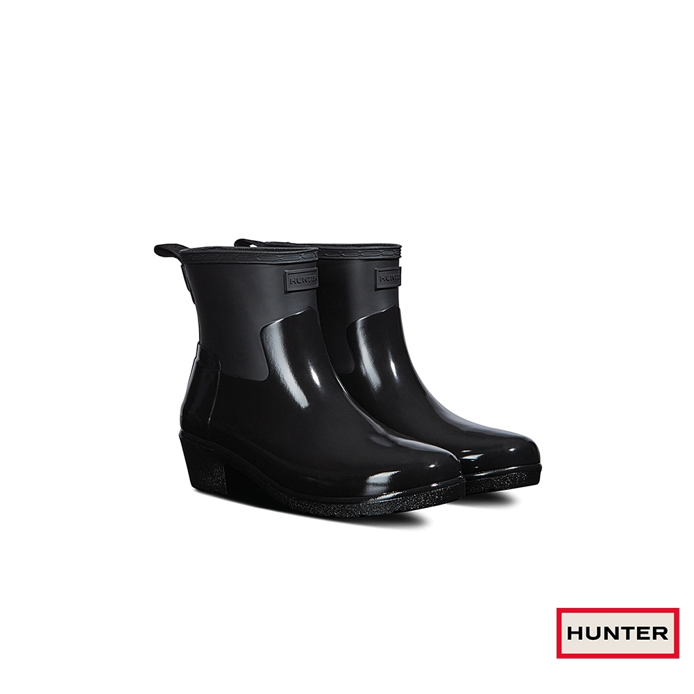 HUNTER - 女鞋 - Refined低跟亮面踝靴 - 黑
